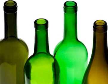 Four empty wine bottles