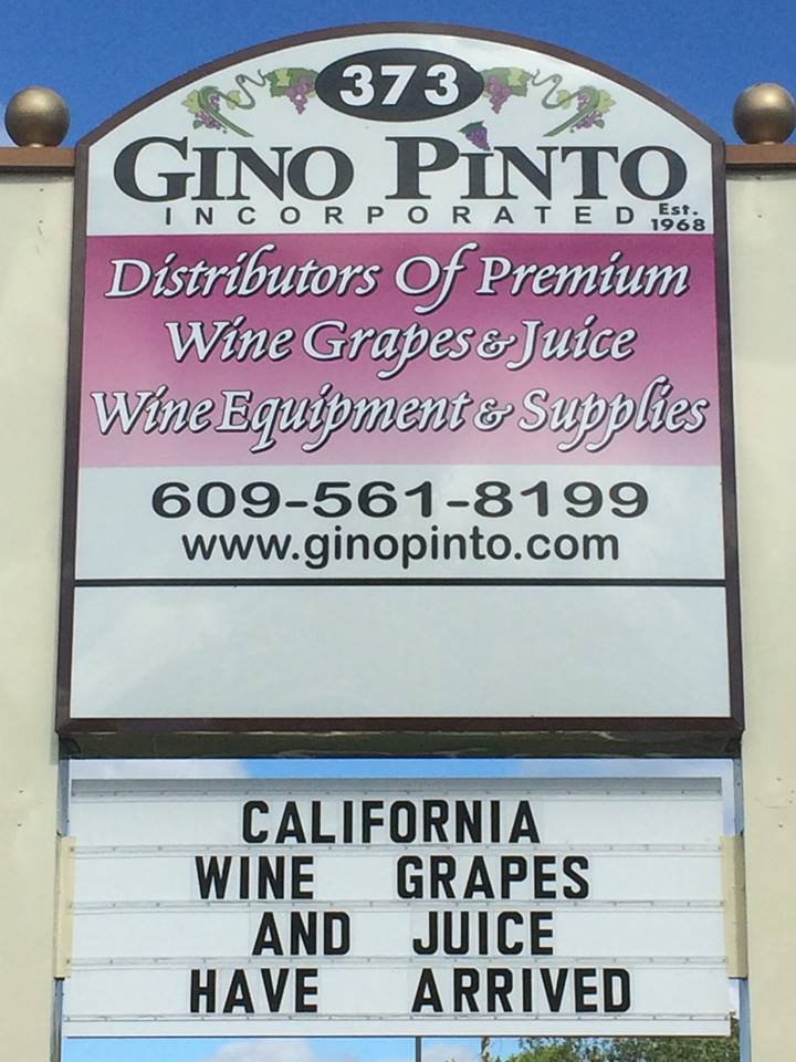 Gino Pinto winemaking equipment sign